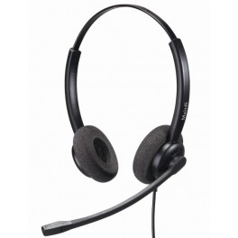 Mairdi contact center headset MRD-609D, stylish design, double earpiece, Ratchet style microphone boom